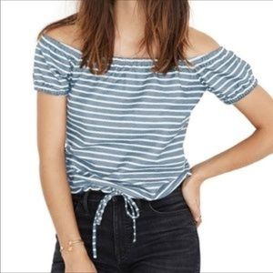 NWOT Madewell Striped Melody Off The Shoulder Top